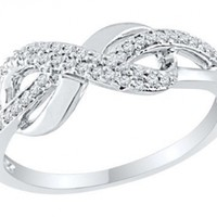 Diamond Infinity Endless Love Promise Ring .925 Sterling Silver size 7