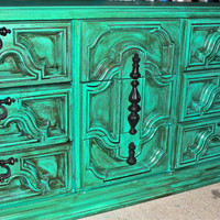 Teal Blue Vintage Dresser accented with Dark Walnut Stain by AquaXpressions