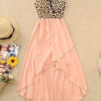 A 071002  V-neck vest sexy leopard chiffon dress