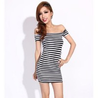 Krazy Sexy Club Cocktail Party Evening Dress #0142 Black & White Striped