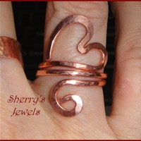 Hold My Heart Copper Om Aum Finger Ring adjustable Valentine | SherrysJewels - Jewelry on ArtFire