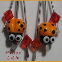 Ladybug earrings! Lovely yellow lampwork, Sterling, Swarovski crystals | SherrysJewels - Jewelry on ArtFire