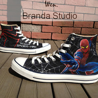 Spider Man Shoes Studio Hand Painted Shoes High Top 52.99Usd,Paint On Custom Converse Shoes Only 92Usd,Buy One Get One Phone Case Free