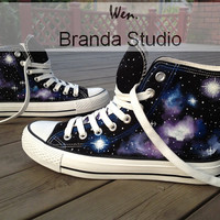 Galactic nebula,Galaxy Converse,Hand Paint On Custom Converse Only 89Usd,Studio Hand Painted Shoes 51.99Usd,Buy One Get One Phone Case Free