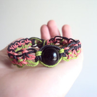 Soft Macrame Hemp Bracelet Alternating Square Knot Watermelon Hemp Jewelry one of a kind Macrame Bracelet