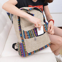 Retro Tribe Pattern Print Canvas Backpack