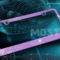 Bling 7 Rows PURPLE(C-Type Screw Cap) Crystal Rhinestone-Metal Chrome License Plate Frame with Two Caps:Amazon:Everything Else