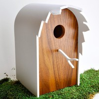 Modern Birdhouse  Walnut 'Canopy' series by StudioLiscious on Etsy