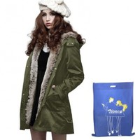 Zicac Women's Thicken Fleece Faux Fur Warm Winter Coat Parka Overcoat:Amazon:Clothing