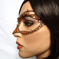 Bronze and topaz womens masquerade mask, costume, accessories, handmade