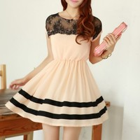 A 082006 Slim chiffon dress lace stitching