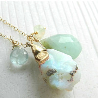 40% OFF SALE Raw fire opal necklace - Gold-dipped - Charm - aquamarine- peruvian opal