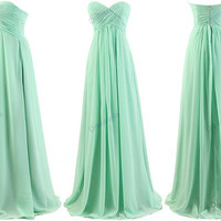 Mint bridesmaid dress - long bridesmaid dress / mint evening dress / mint homecoming dress / long prom dress / mint party dress for juniors