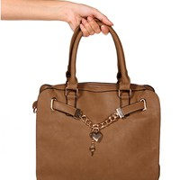 Taupe Chainlink Heart Lock Handbag