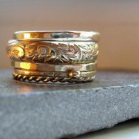 Five Gold Rings Stackable Set by tinahdee on Etsy