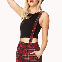 Street-Chic Plaid Overall Shorts