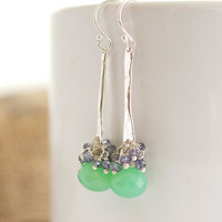 Sterling Silver Dangle Earrings, Chrysoprase Earrings, Cluster Earrings