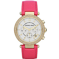 Michael Kors Parker Pink Leather Chronograph Watch