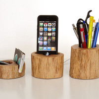 iPhone docking station / Office Organizer / Pen Holder / Card Holder  - iPhone 4, iPhone 5 cradle from rustic wood - unique desk accessory