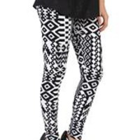 Black and White Tribal Ponte Knit Leggings