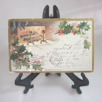 Dennisons Embossed Christmas Postcard, Vintage 1906 undivided back, great for crafting, scrapbooking, card making