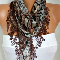 Brown  Scarf -  Multicolor Scarf Cowl Scarf  Shawl Scarf Cotton Scarf - fatwoman