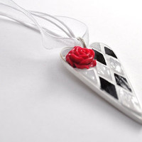 Bold Black and White Heart Shaped Mosaic Pendant Necklace with 3D Rose Accent