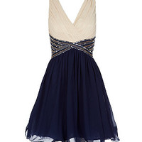 Navy Contrast V Neck Embellished Prom Dress