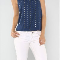 The Studded Navy Top