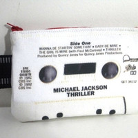 Michael Jackson Thriller Retro 80s Cassette Tape Large Cell Phone Case & Cosmetic Pouch