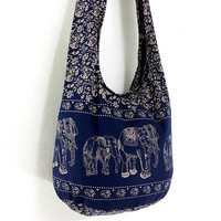 Handmade Cotton Elephant bag Printed Hippie bag Hobo bag Boho bag Shoulder bag Sling bag Messenger bag Tote bag Crossbody Purse - Navy blue