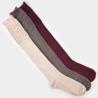 FULL TILT 3 Pack Scrunch Top Womens Knee High Socks
