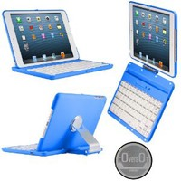 CoverBot iPad Mini Keyboard Case Station BLUE. Bluetooth Keyboard For 7.9 Inch New Mini iPad with IOS Commands. Folio Style Cover with 360 Degree Rotating Viewing Stand Feature