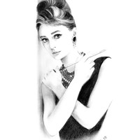 Charcoal Pencil Drawing - Audrey Hepburn against the Wall - Breakfast at Tiffany's