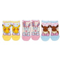 Pokemon center original shortstop socks set Pikachu SYLVEON Eevee 19~21cm Japan