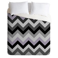Romi Vega Chevron Black Duvet Cover