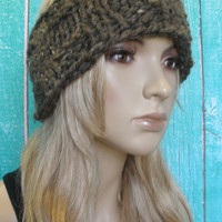 Knit Headband Ear Warmer Hand Knit Brown Tweed Woodsy Chunky Ribbed
