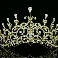 Pageant Bridal Wedding Rhinestone Crystal Tiara Crown - Gold Plated Clear Crystals T429:Amazon:Beauty