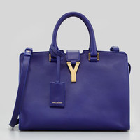 Saint Laurent Y-Ligne Cabas Mini Leather Bag, Blue