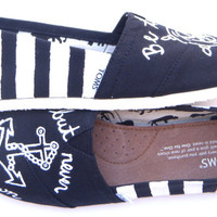 The Anchor Remix  Black and White Striped Custom by FruitfulFeet