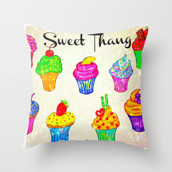 SWEET THANG - Cupcakes Sweet Sugary Goodness, Yummy Treat Romantic Colorful Bakery Illustration Throw Pillow by EbiEmporium