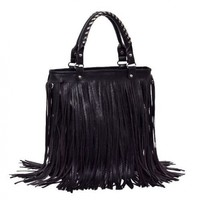 2012-2013 Woman lady or girl Black Leather Punk Tassel Fringe Handbag/ Shoulder Handle /Satchel /Purse/ Hobo Tote bags:Amazon:Beauty