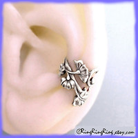 Left Flower Art Nouveau antiqued silver ear cuff by RingRingRing