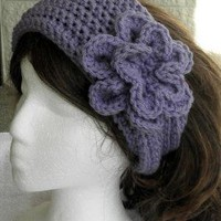 Lavender Hand Crochet Headband With Flower by endlesscreation