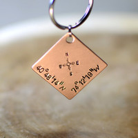 Personalized latitude longitude copper square keychain