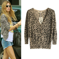 A 083004 bb Leopard Slim Sleeve Sweater