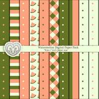 Watermelon Scrapbook Digital Paper Pack Orange and Green