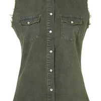 MOTO Khaki Sleeveless Denim Shirt - Tops  - Clothing