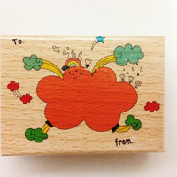 Big Wooden Rubber Stamp - To From envelope label