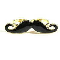 Handlebar Mustache Double Ring Adjustable Knuckle Band Vintage Indie Hipster Fashion Jewelry